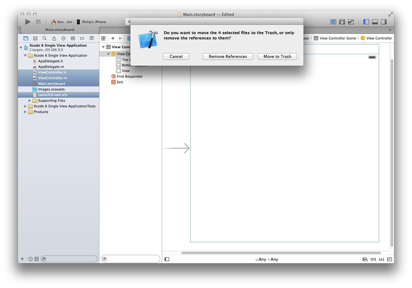 Xcode 6 Remove Files