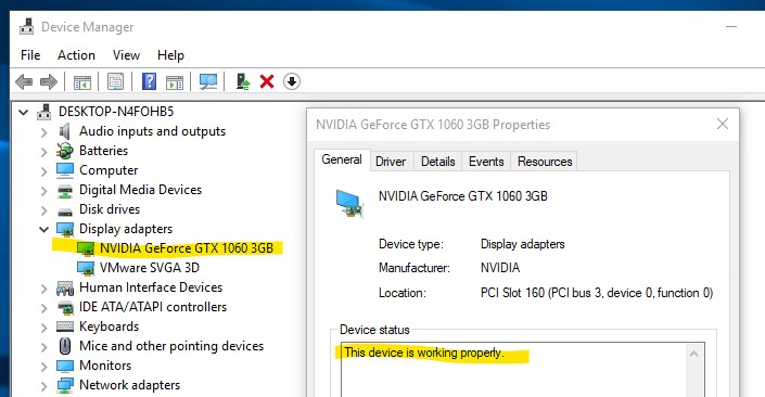 "Shows ""NVIDIA GeForce GTX 1060"" in the Windows 10 Device Manager alongside the ""VMWare SVGA 3D"" display device."